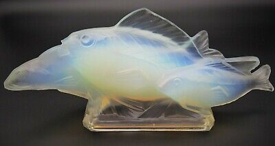 Art Deco SABINO Opalescent Art Glass Fish Group 14.5  Signed C.1928 Lalique Era • 1,160.18£