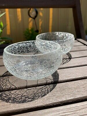 2x Crackle Glass Bowl Clear 6cm High 11cm Wide • 3£