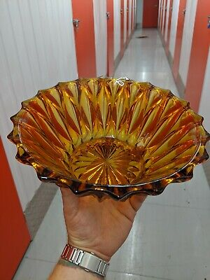 Vintage Art Deco Amber Glass Bowl. Lovely Piece • 19.95£