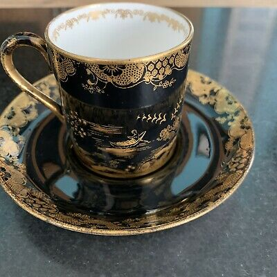 Crown Staffordshire Goode & Audley London China Porcelain Cup,saucer Black Gold • 39.99£