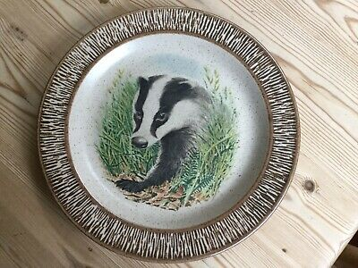 """Vintage Purbeck Pottery Badger Plate 8.75"""" • 2.90£"""