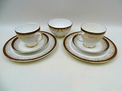 Royal Grafton Majestic Red 2 Trios Tea Cups Saucers Side Plates And Sugar Bowl • 24.99£