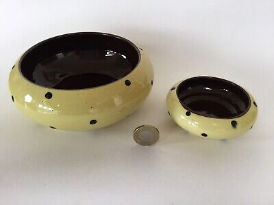 2 X Unusual Torquay Ware Bowls Yellow & Black Spots, Spotty, Antique Vintage • 9.50£