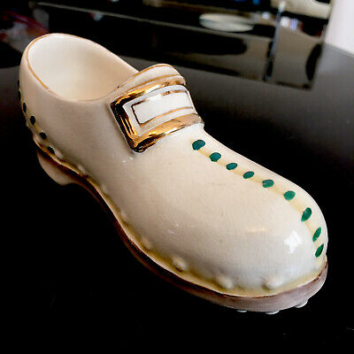 Early Vintage Wedgwood China Shoe Hand Painted Victorian Hobnail Boot Design • 16£