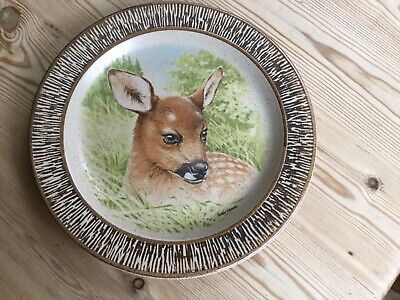 """Vintage Purbeck Pottery Fawn Deer Plate 8.75"""" • 2.95£"""