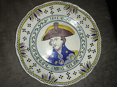 Faience, Tin Glaze Earthenware Plate, Admiral Nelson, Probably  Quimper • 90£