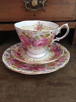 Royal Albert Serena Trio,cup,saucer,plate/saucer? Pretty Pink Rose Pattern • 10£