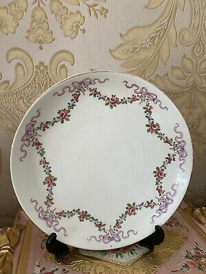 Crown Staffordshire Lilac Bow And Rose Ribbons Bowl Plate • 29.99£