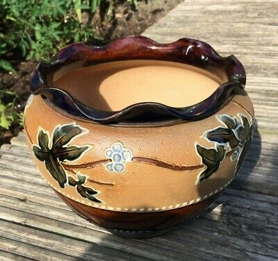 Vintage Royal Doulton And Slater Patent Stoneware Jardiniere Tubelined Leaves • 24.99£