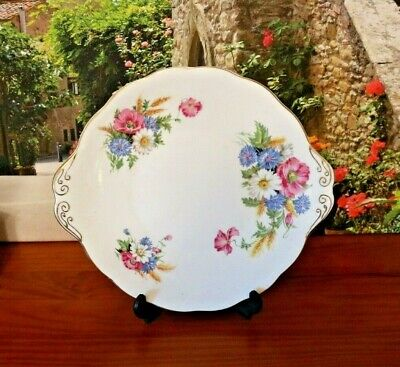 Royal Albert China  Harvest Bouquet  Pink Blue Floral Cake Plate • 15.99£