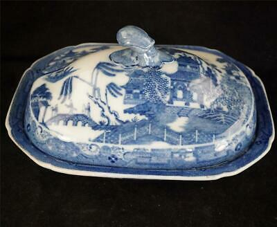 C1810 Antique Blue & White Pearlware Willow Pattern Tureen & Cover • 99.99£