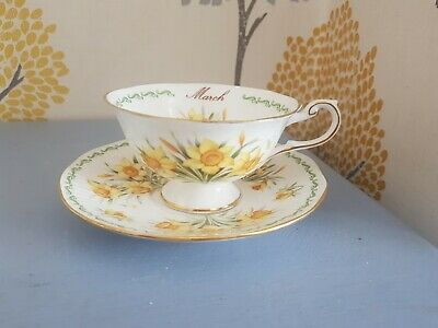Queens China Flower Of The Month March Daffodils Open Teacup & Saucer • 9.99£