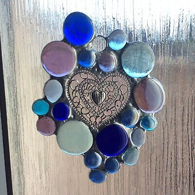 Stained Glass Abstract Nugget And Heart Sun Catcher Window Decoration • 18£
