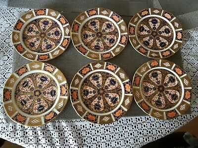 Set Of 6 Royal Crown Derby 1st Quality Imari Fluted Plates  • 250£