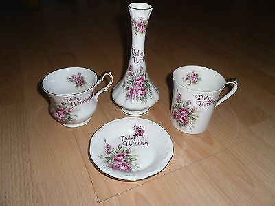 Queens Bone China Ruby Wedding Set • 7.95£