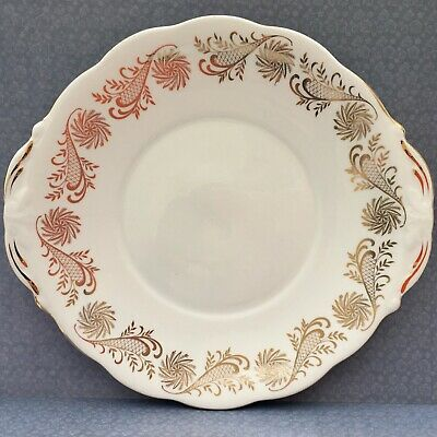 QUEEN ANNE PINWHEEL CAKE SERVING PLATE - 1950s GOLD & WHITE GILDED BONE CHINA • 14£