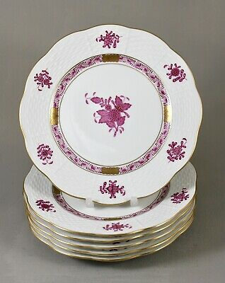 Herend Apponyi Chinese Bouquet Raspberry Pink Ap Tea Side Bread Plates  X 6 1st • 135£