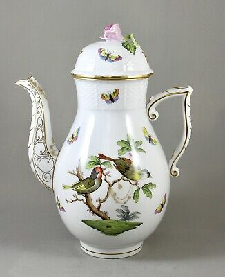 Herend Hand Painted Porcelain Rothschild Bird Ro Large Coffee Pot 611 Perfect! • 135£