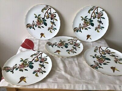 George Jones And Sons Crescent Salad Plates. X6. Birds And Blossom. C 1880. Rare • 150£