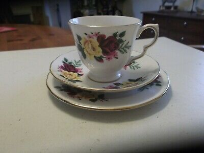 Vintage Queen Anne Bone China Tea Trio Red & Yellow Roses • 11£