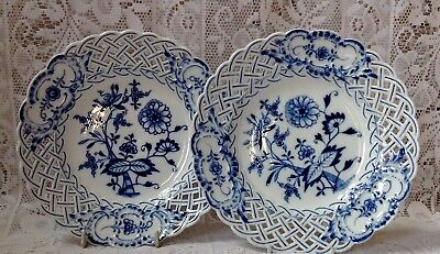 Antique, 2 Onion Pattern Blue & White Reticulated Lattice Pierced Edge Plates #2 • 125£
