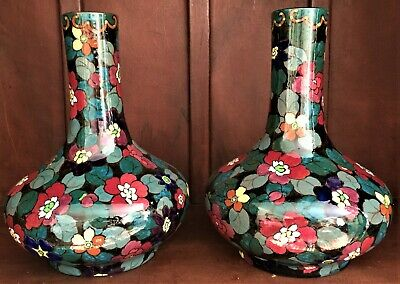 Pair Of Large Early 20th Century Canning  Decoro Ware  British Bottle Vases • 110£