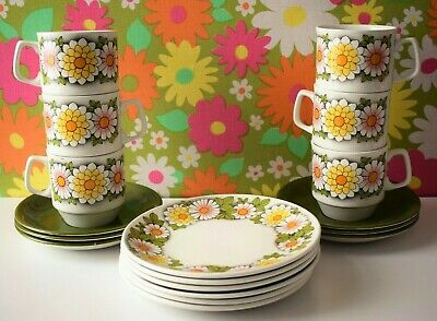 Vintage Floral 60s 70s John Russell Black Magic Cups Saucers Side Plates Set  • 19.99£