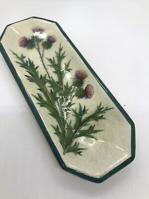 Early 1900s Scottish Wemyss Thistles Comb Tray Retailer Mark T GOODE & CO • 220£