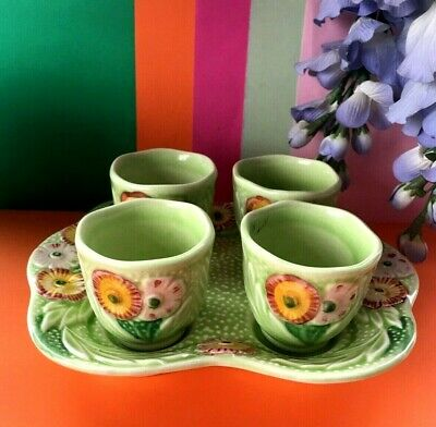Vintage 1948+ Melba Ware Complete Daisy Breakfast Egg Cup Set & Stand • 18.95£