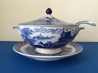 Cauldon Chariots Serving Dish, Lid, Ladle And Stand Blue Tureen Circa 1930's • 90£