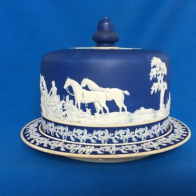 Victorian Brownhills Blue Jasper Cheese Dish And Cover Circa 1890 • 50£
