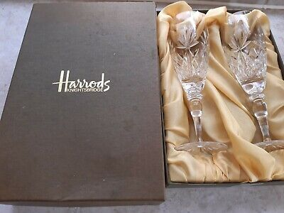 Pair Of Harrods Knightsbridge Cut Glass Crystal Champagne Flutes With Fitted Box • 24.95£
