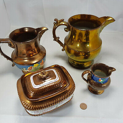 Lustre Pottery Set 2 Jugs, 1 Square Bowl With Lid And 1 Smaller Jug • 12.99£