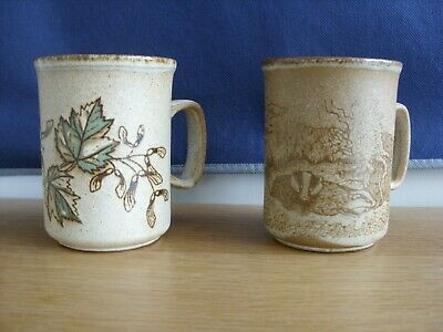 Vintage  Dunoon Stoneware Mugs   Badgers And Sycamore • 8.99£