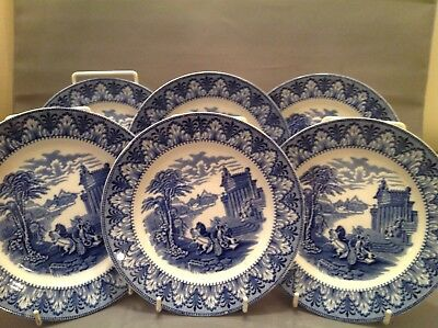 Set Of 6 Blue & White Chariot Pattern Side Plates By Cauldon Of England • 35£