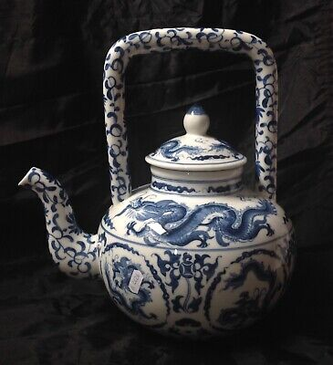 Chinese Modern Large Decorative Blue/White Pottery Kettle Decorated With Dragons • 19.95£