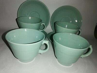 4 Woods Ware Green Beryl Tea Cups And Saucers  • 20£