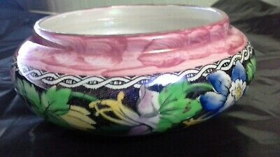 Maling Pottery Lustre Ware Dish / Small Bowl- Pink With  Blue Floral Band - Vgc • 6£