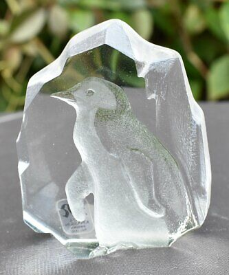 Mats Jonasson Penguin Crystal Glass Paperweight, Original Label, Signed • 19.99£