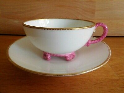 Antique Brown Westhead Moore Cup And Saucer With Pink Rope Twist Handle And Feet • 58£