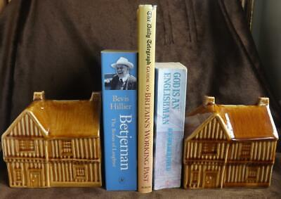 Pair Vintage Cottage / Tudor Style House Moneyboxes / Bookends, Holkham England • 27.50£