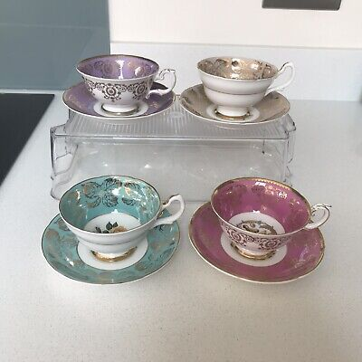 Vtg Tea Cups Saucers Royal Grafton Pink Turquoise Mauve & Taupe Bone China X 4 • 80£
