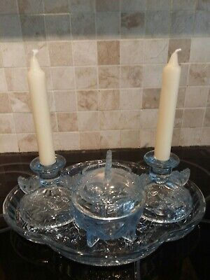 SOWERBY ART DECO BLUE GLASS BUTTERFLY FROSTED DESIGN DRESSING TABLE SET 4 Items • 14£