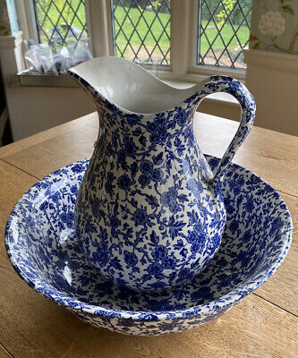 Burgess & Leigh Blue Arden Jug And Bowl • 50£