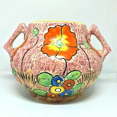 CROWN DUCAL Art Deco Hand Painted Twin Handled Bowl Vase  • 60£