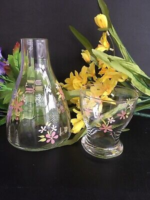 Stunning Laura Ashley Bedside Carafe And Glass Hand Painted Floral • 14.99£