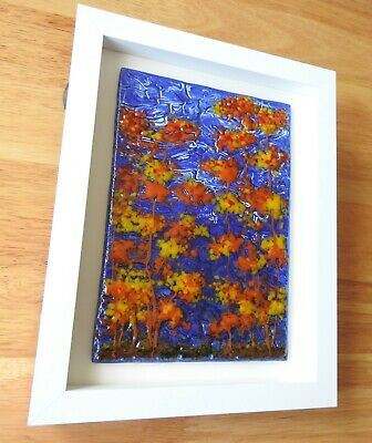 Handmade Wall / Table Fused Glass Framed Art  Picture • 5.01£