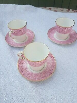 Royal Worcester C 1886 Coffee Set - 3 Cups And Saucers In Pink With Gold Trim • 5.40£