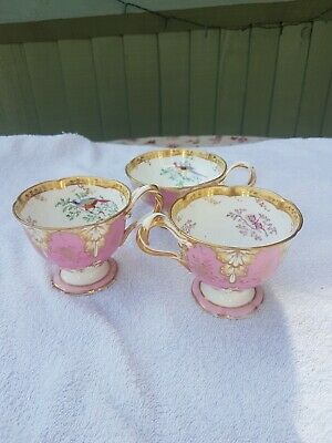 Pink And Gold Hand Painted Victorian China - 3 Cups • 10.50£