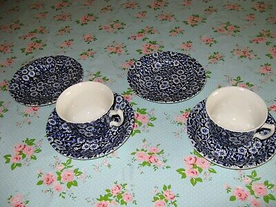2 Cups, Saucers And Side Plates, Burleigh Blue Calico Staffordshire  • 14.50£